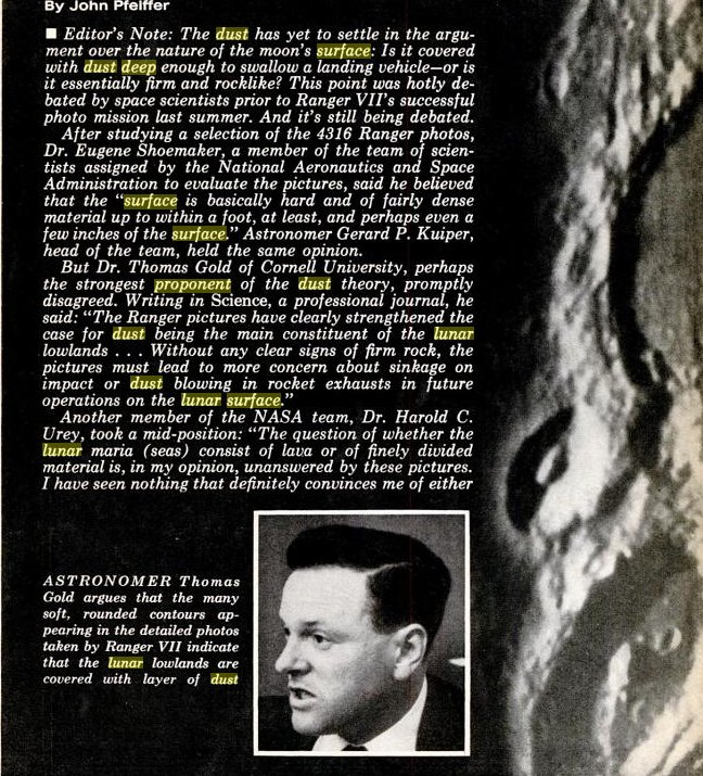 popular mechanics article on ranger mission and moon dust